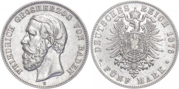 Württemberg 5 Mark 1876 - Friedrich