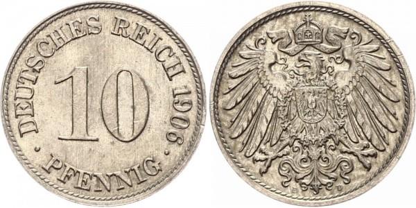 Kaiserreich 10 Pfennig 1906 D Kursmünze
