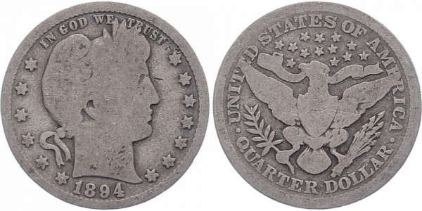 USA 25 Cent 1894 - Barber Quarter
