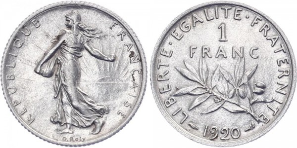 Frankreich 1 Franc 1920 - Kursmünze
