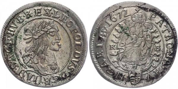 RDR, Habsburg 6 Kreuzer 1672 KB (Kremnitz) Leopold I. 1657-1705
