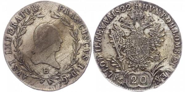 RDR/Österreich-Ungarn 20 Kreuzer 1822E Karlsburg Franz I. ( 1804 - 1835 )