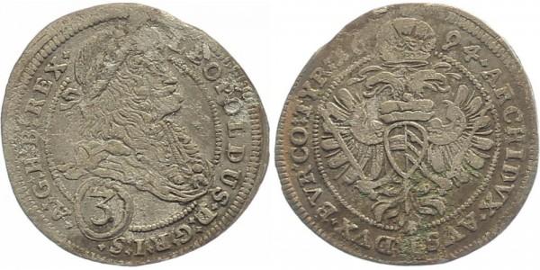 RDR Österreich Wien 3 Kreuzer 1694 - Leopold