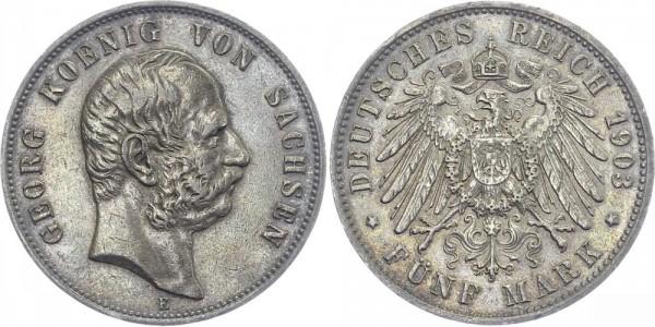SACHSEN 5 Mark 1903 E Georg