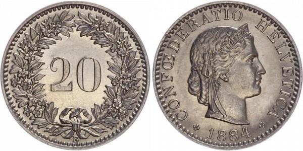 Schweiz 20 Rappen 1884 B Kursmünze