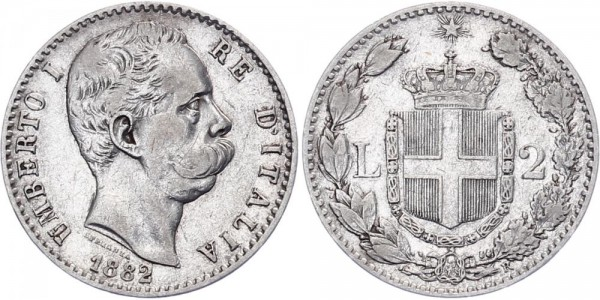 Italien 2 Lire 1882 - Kursmünze