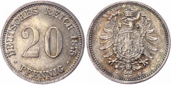 Deutsches Reich 20 Pfennig 1875 D Wilhelm I. großer Adler