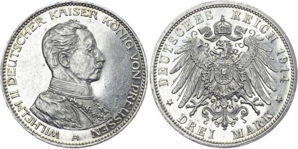 PREUSSEN 3 Mark 1914 A Wilhelm II. mit Uniform