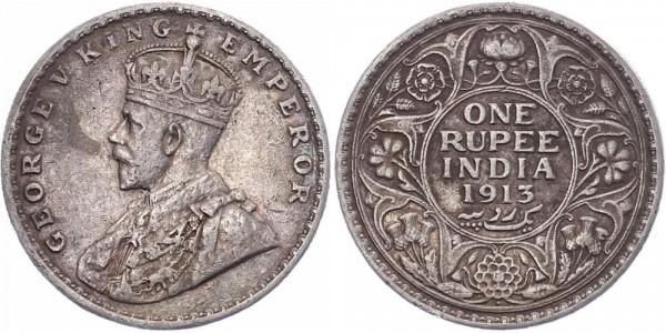 Britisch-Indien 1 Rupie 1913 Bombay Edward V.