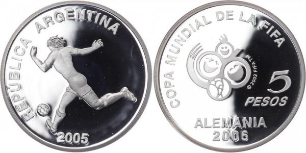 Argentinien 5 Pesos 2005 - Fußball WM Deutschland 2009