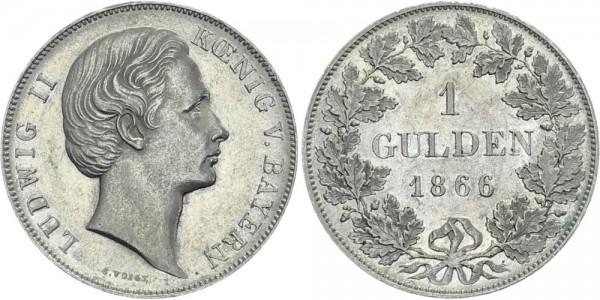 BAYERN 1 Gulden 1866 - Ludwig II.