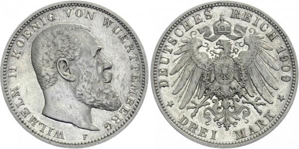 WÜRTTEMBERG 3 Mark 1909 F Wilhelm II.
