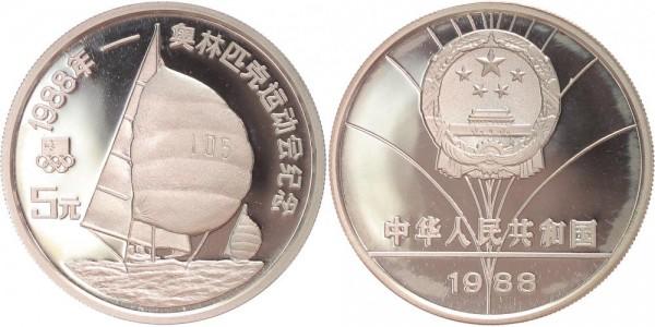 China 5 Yuan 1988 - Segelboot