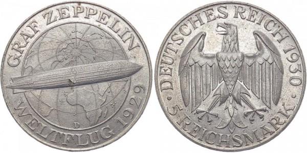 Weimarer Republik 5 Reichsmark 1930 D Zeppelin